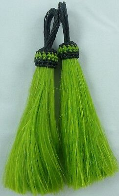 Boldest Lime Green *horse hair tassels 4 1/2 inch perfect tack pair Set 4