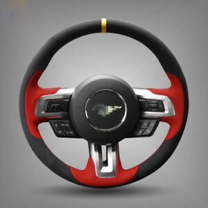 For Ford Mustang Steering Wheel Cover DIY Hand-stitched Car