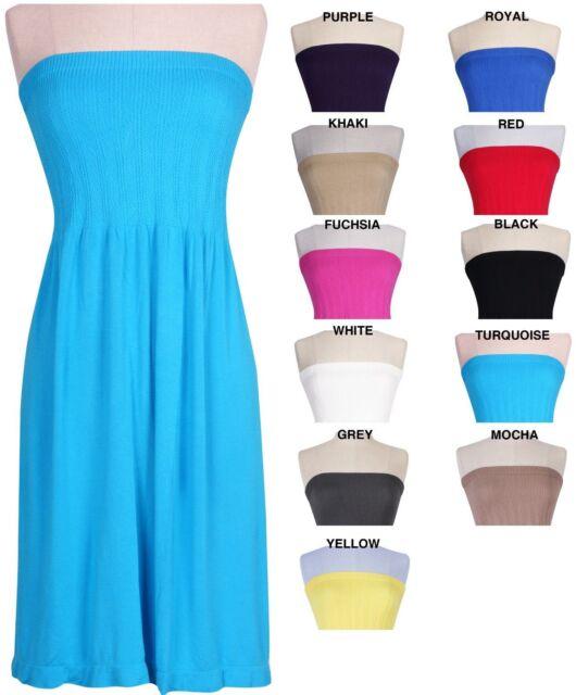 Seamless Strapless Streth Flare Sun Summer Beach Dress Mini Maxi Dress ONE SIZE