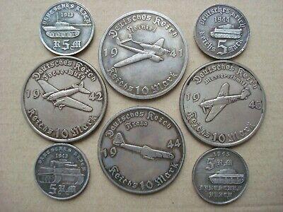 1942 GERMAN 10 REICHSMARK FOCKE-WULF AIRPLANE WWII  COMMEMORATIVE COIN