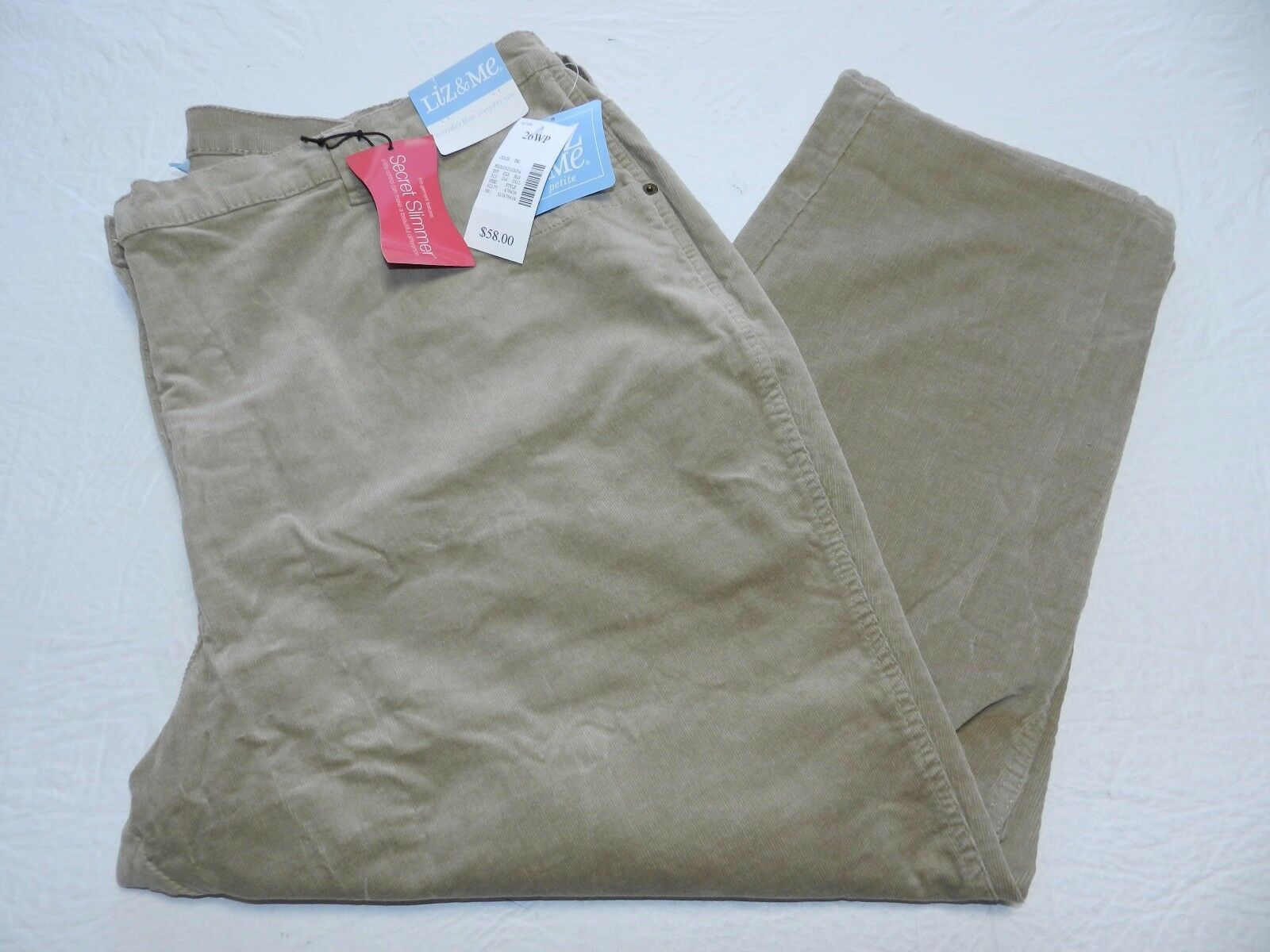 58 WOMENS tan corduroy secret slimmer PANTS = LIZ & ME size 26WP petite = km95