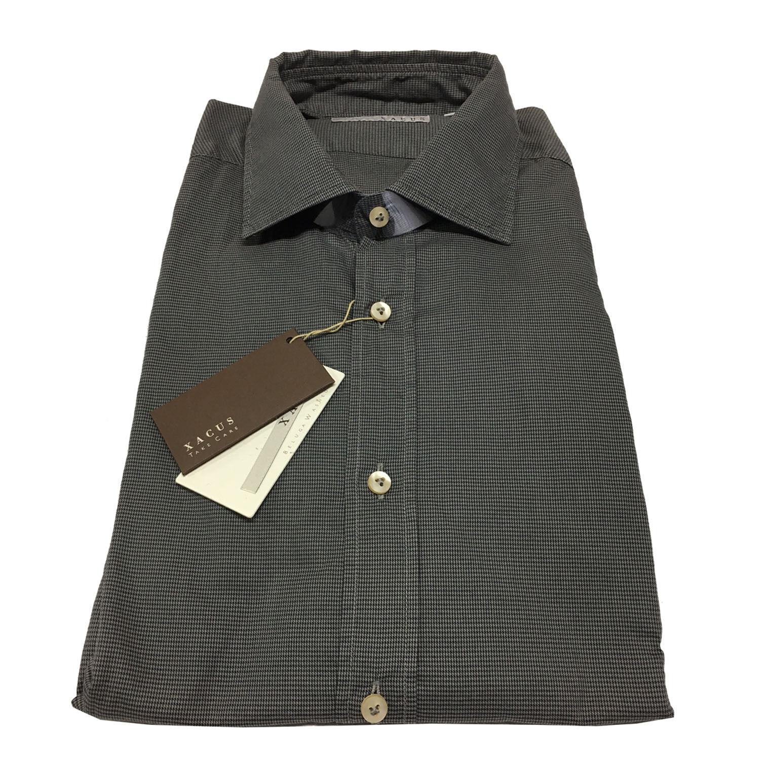 XACUS men's shirts Vichy charcoal 100% cotton slim fit