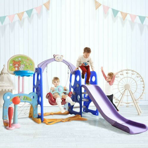 6 In 1 Kids Indoor Outdoor Slide Swing And Basketball Football Baseball Play Set