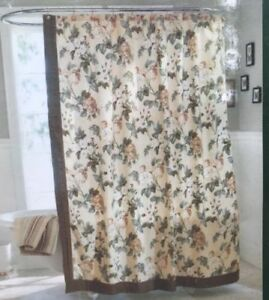 Waverly Shower Curtain 100 Cotton Fabric Floral Beige Tan Green Brown Cream