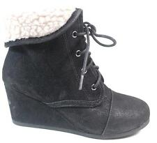 NEW GIRLS YOUTH SODA NAST BLACK Ankle Lace up Wedge  Boots Shoes SZ 13