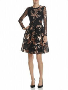 Maje-1-Dress-Radar-Maille-Basket-Black-Robe-Floral-Sequin-A-Line-Womens-NWT-570