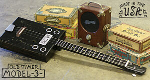 1857-Old-Timer-Cigar-Box-guitar-Model-3-Bottleneck-3-string-Blues-Americana