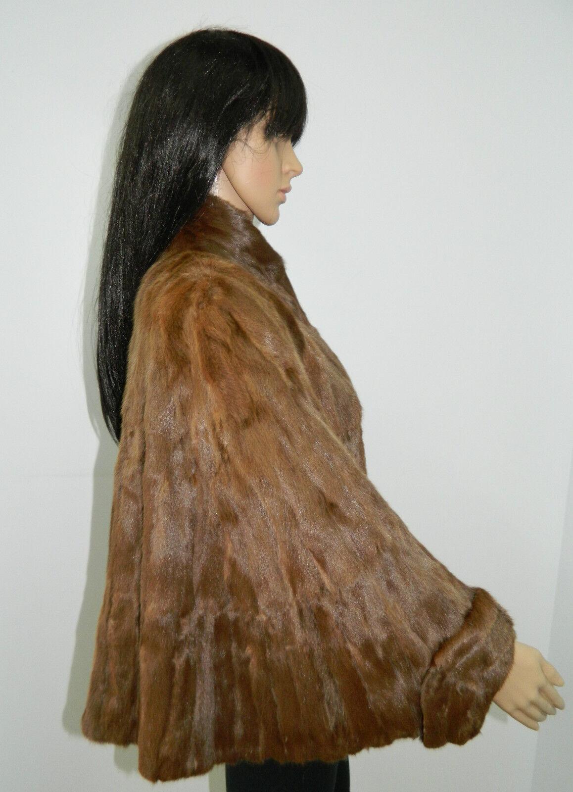 GENUINE Squirrel FUR COAT CAP MANTLE PONCHO Sz.M  n.E38