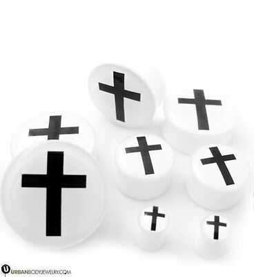 Pair of Black Cross White Plugs (2G - 24mm) Pick Your Ear Gauge Size - New!