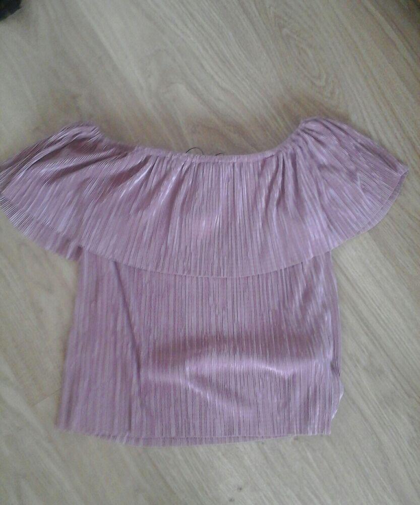 Bnwt Rose Taille 8 Plissée Effet Volantée Bardot Top
