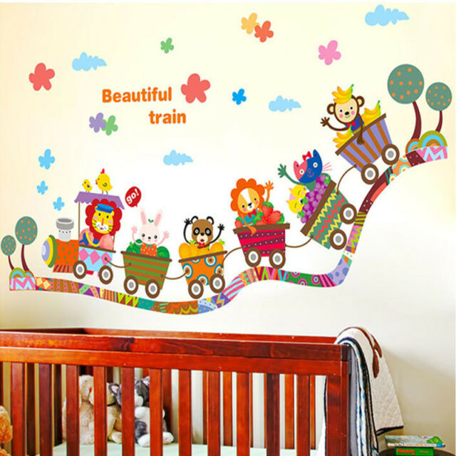 Jungle Safari Animals Train Wall Decals Removable Sticker Kids Art Nursery Decor