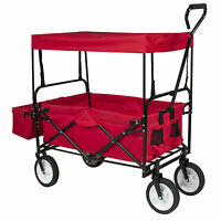 Folding Wagon W/ Canopy Garden Utility Travel Collapsible Cart Outdoor Yard Home on sale