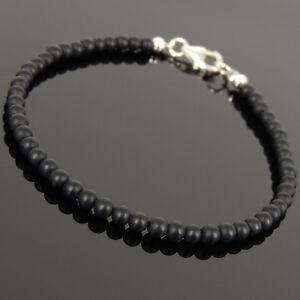 Men-039-s-Women-Matte-Black-Onyx-Sterling-Silver-Bracelet-3mm-SMALL-Beads-1025