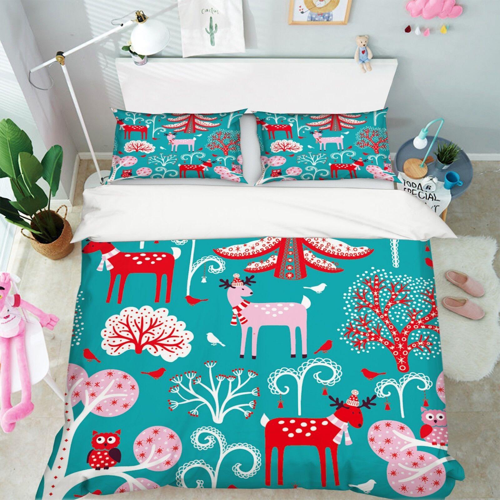 3d Christmas Xmas 601 Bed Cushion Covers Stitch Duvet Cover Set Single DE