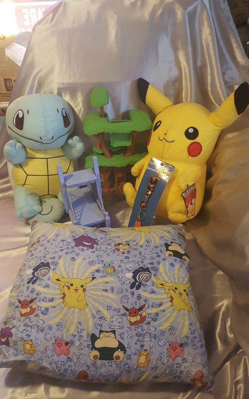 Pokemon lot Charizard lynard Pikachu Squirtle plush stuffed animal  pillow