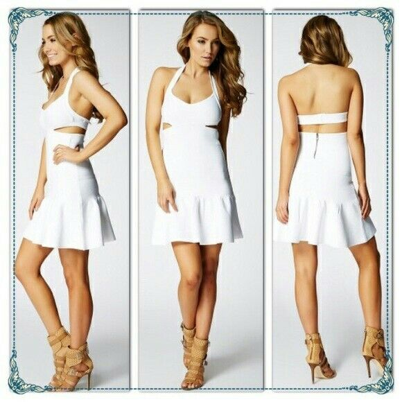 138 Guess Mirage Scuba Cutout Bandage Halter Mini Dress White M