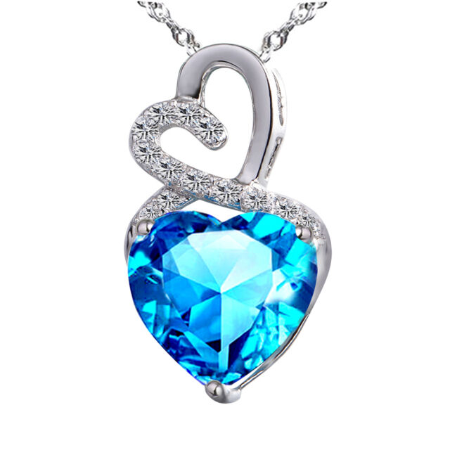4.00 Ct Created Blue Topaz Heart Cut Pendant Necklace Sterling Silver w/ Chain