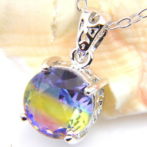 Rainbow Jewelry Rose Bi-Colored Tourmaline Gemstone Silver Necklace Pendants