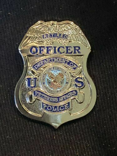 VA Veterans Affairs Police Retired Officer Mini Badge Lapel Pin Silver