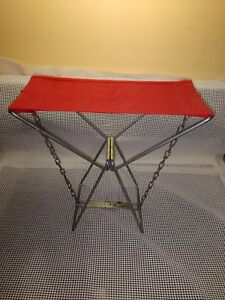 Vintage Ice Fishing Hunting Camping Fold Up All Metal Seat