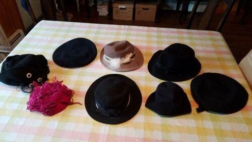 Vintage Lot of 8 Ladies Felt Dress Hats