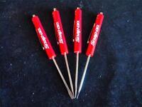 Four Snap On Original Red Flat Tip Magnetic End Pocket Screwdriver Set