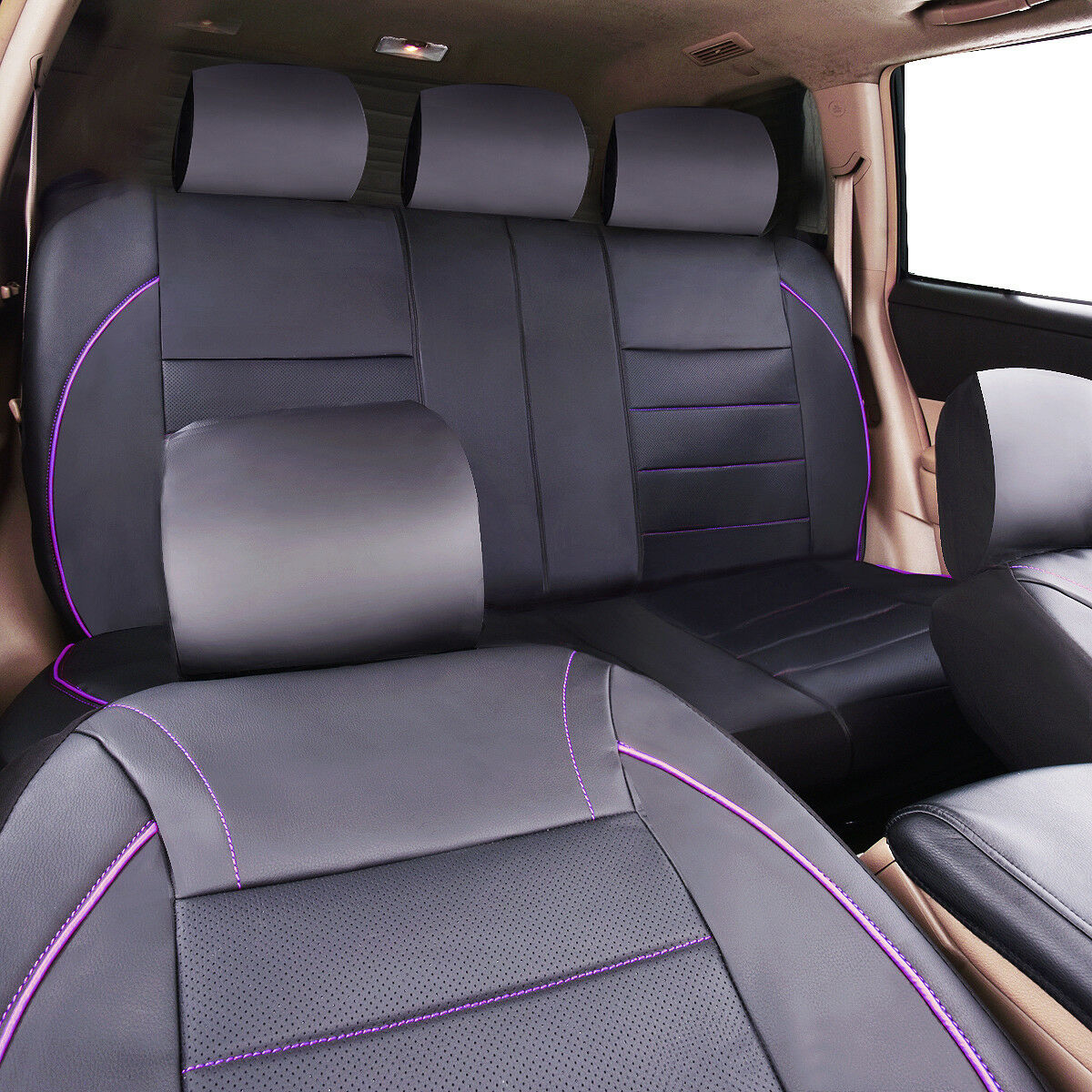 Car Pass Purple Universal Piping Leather Car Seat Cover