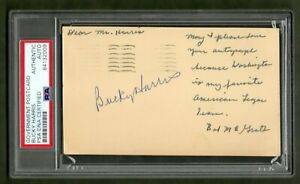 Bucky-Harris-Signed-Government-Postcard-PSA-DNA-Certified-Authentic-Autograph