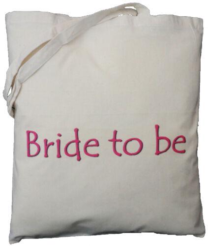 Wedding Favour HEN NIGHT GIFT BRIDE TO BE NATURAL COTTON SHOULDER BAG