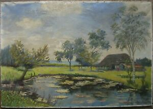 Carl-Wilhelm-mosblech-1868-1943-Oil-Painting-Lily-Worpswede-Farm-Oil
