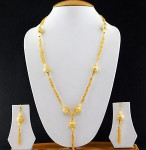 Indian-Jewelry-Gold-Plated-Fashion-Mala-Bridal-Bollywood-Necklace-Earrings-Set