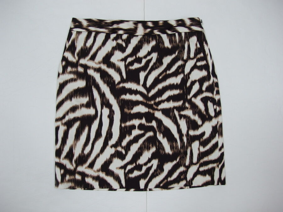 Ann Taylor Skirt 4 Petite 4P Animal Print Mini Above Knee Cotton Blend NWT