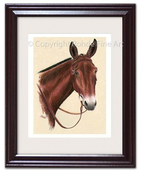 SADDLE MULE western FRAMED EQUINE ART artist signed - beautiful painting