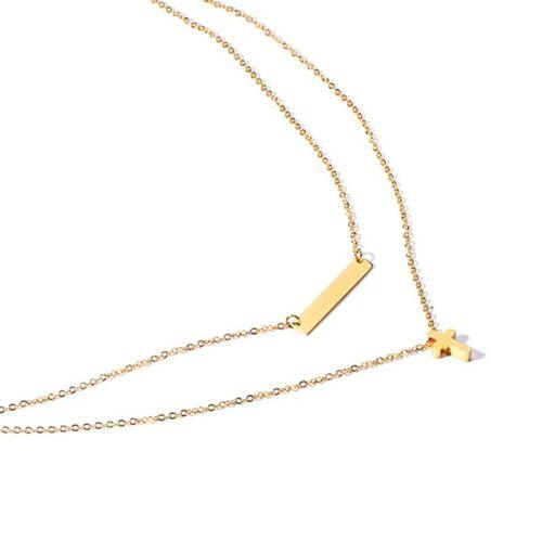 Double Tour de cou colliers Femmes or 18K croix en acier inoxydable pendentif Collier cadeau