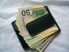 New Black Magnetic Leather Wallet Case Card holder Money Clip