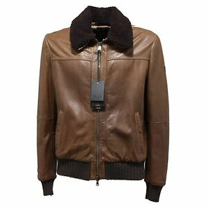 wholesale dealer 349bf 32c86 Details about 0904N giubbotto pelle PEUTEREY LE CUIR giacche uomo jacket  men marrone