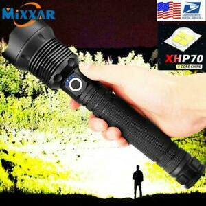 Rechargeable 900000 Lumens XHP50 Most Powerful LED Flashlight USB Zoomable Torch