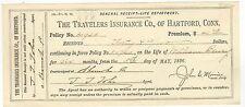 1896 TRAVELERS INSURANCE COMPANY Hartford Connecticut RENEWAL RECEIPT Check