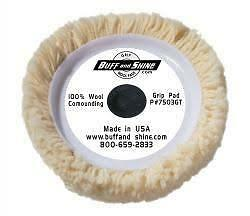 """4 Ply Buff and Shine 7503GT Compound Grip 7.5/"""" x 1.5/"""" Wool Pad"""