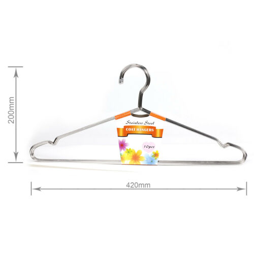 """30Pcs 16.5/"""" Heavy Duty Stainless Steel Clothing Clothes Suit Coat Hangers"""