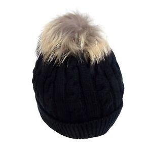 BONNET-Noir-Black-POMPON-Laine-Hiver-Chaud-Style-Homme-Femme-Fourrure-Doux