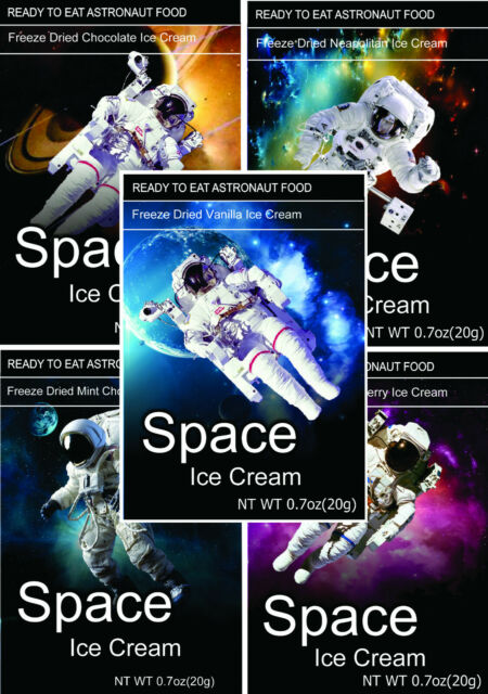 Set Of 4 Dinosaur Astronaut Space Food Choc-O-Saurus Chocolate Chip Ice Cream