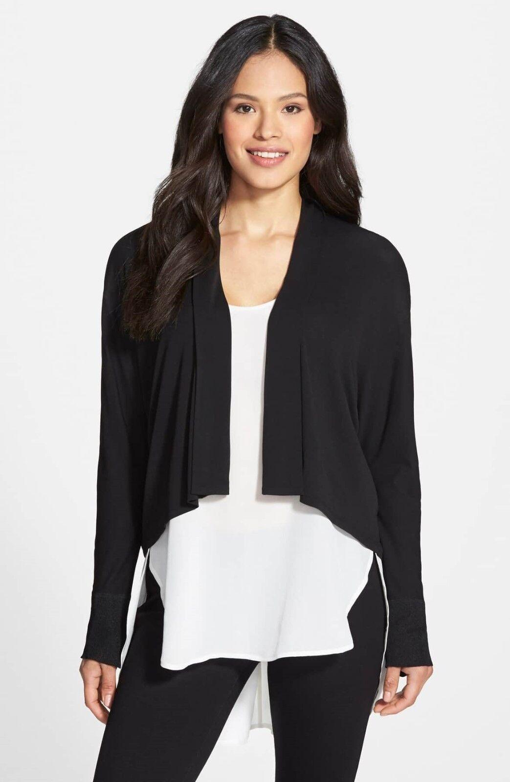 NWT Eileen Fisher Silk Jersey Kimono Cardigan in schwarz - Größe XXS