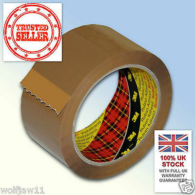 6 X PARCEL PACKING PACKAGING BROWN TAPE STRONG 48MM X 66M GENUINE 3M FREE P+P