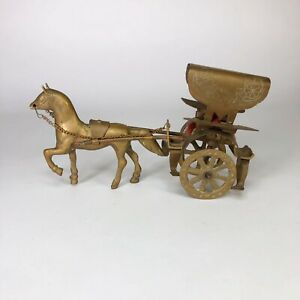 Vintage-Original-Brass-Horse-and-Carriage-Large