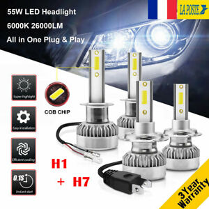 H1-amp-H7-110W-26000LM-LED-Ampoule-Voiture-Feux-Lampe-Kit-Phare-Xenon-6000K-2-Paires
