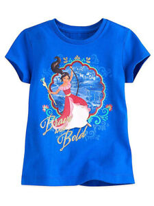 Disney Store Girls Elena of Avalor ''Brave and Bold'' Short Sleeve T-Shirt, Blue