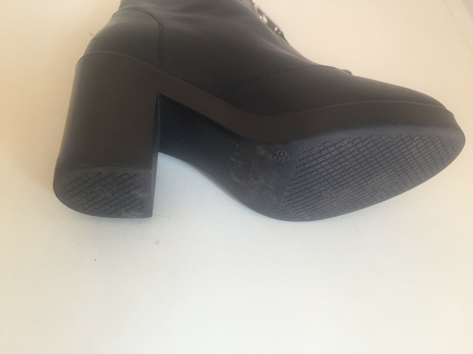 Topshop Negro Cuero Cremallera Bloque Tacón Tacón Bloque Zapatos 36 8be16f