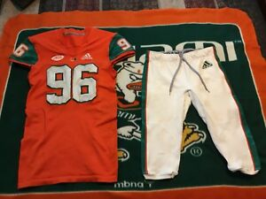 "designer fashion 52cca 6870b Details about Miami Hurricanes ""Game Worn"" Football Jersey/pantsFor 2018  Season Opening Game !"