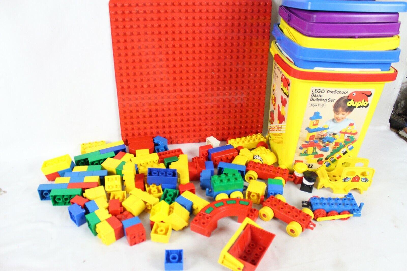 Rare Vintage Duplo Lego Set Container Lot Minifigure 1662 1622 2494 1689